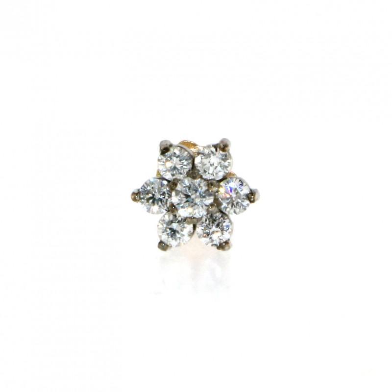 18ct Gold Diamond Flower Nose Pin