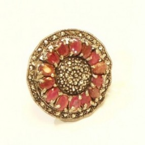 925 Sterling Silver Ruby Sunflower Ring
