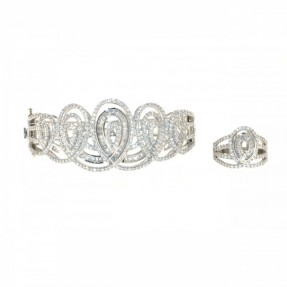 925 Sterling Silver Bangal and Ring Set