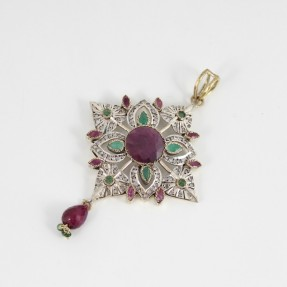 Silver Ruby and Emerald Pendant