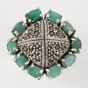 925 Sterling Silver Emerald Ring