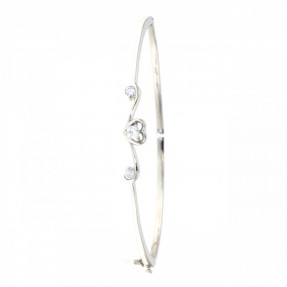 925 Sterling Silver Heart Bangle (Openable)