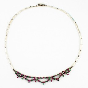 925 Sterling Silver Ruby & Emerald Necklace