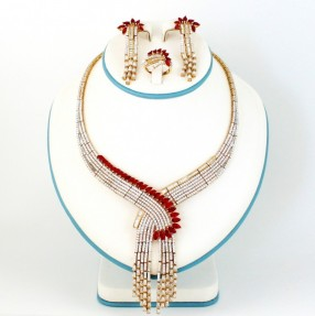 925 Sterling Silver | Gold Plated | Maroon Necklace Set