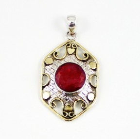 925 Sterling Silver Ruby Pendant