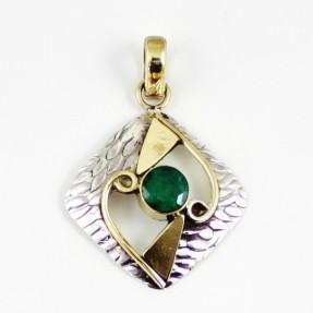 925 Sterling Silver Emerald Pendant