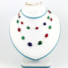 925 Sterling Silver Ruby, Emerald and Sapphire Necklace/Mala