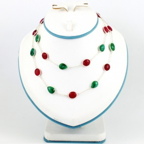 925 Sterling Silver Ruby and Emerald Necklace/Mala
