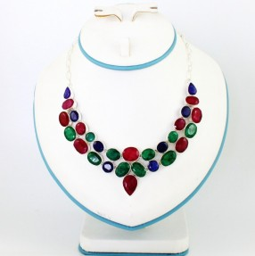 925 Sterling Silver Ruby, Emerald and Sapphire Necklace