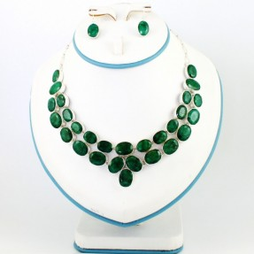 925 Sterling Silver Emerald Necklace Set