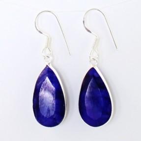 925 Sterling Silver Sapphire Drop Earrings