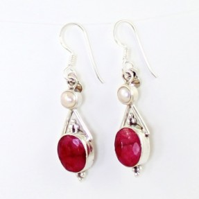 925 Sterling Silver Ruby and Pearl Earrings