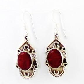 925 Sterling Silver Ruby Earrings