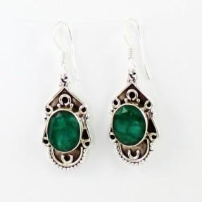 925 Sterling Silver Emerald Earrings