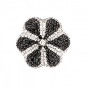 925 Sterling Silver Cubic Zirconia Flower Ring