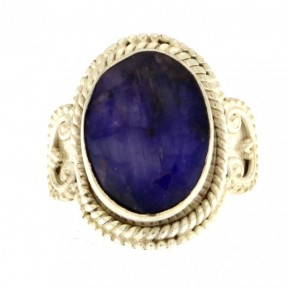 925 Sterling Silver Sapphire Unisex Ring