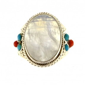 925 Sterling Silver Opal Unisex Ring