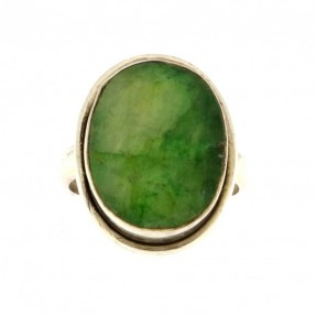 925 Sterling Silver Emerald Unisex Ring