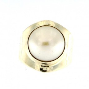 925 Sterling Silver Pearl Unisex Ring
