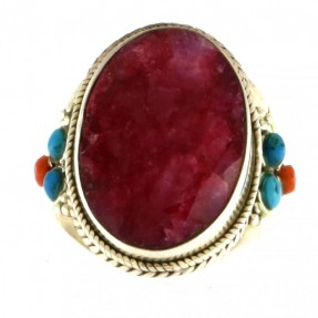 925 Sterling Silver Ruby Unisex Ring