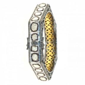 Sterling Silver Diamond Bangle/Kara Openable