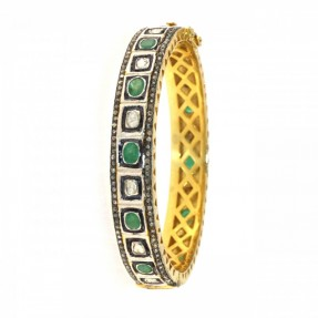 Sterling Silver Diamond Kundan Emerald Bangle/Kara Openable