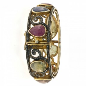 Sterling Silver Diamond Ruby Sapphire Bangle/Kara Openable