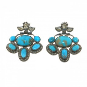 Sterling Silver Diamond Turquoise Stud Erarrings