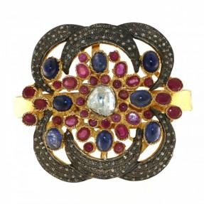Sterling Silver Diamond Ruby Sapphire Bangle/Kara