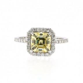 14ct White Gold 0.50ct Diamond & Yellow Citrine Ring