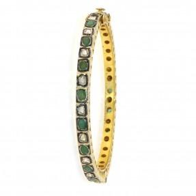 Sterling Silver Diamond Emerald Bangle/Kara Openable