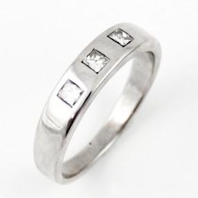 18ct White Gold Diamond Trilogy Wedding Band