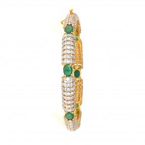 22ct Real Gold Asian/Indian/Pakistani Style Emerald Kara-Bangle ROYAL COLLECTION (Single)
