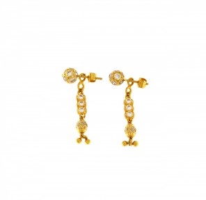 22ct Real Gold Asian/Indian/Pakistani Style 2 in 1 Stud Earrings