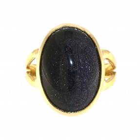 22ct Real Gold Asian/Indian/Pakistani Style Handmade Blue Goldstone Ring