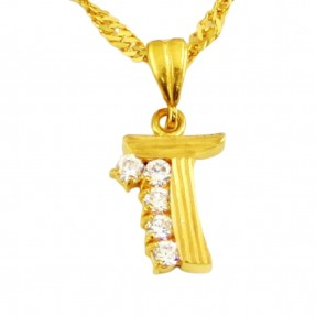 22ct Indian Gold 'T' Pendant