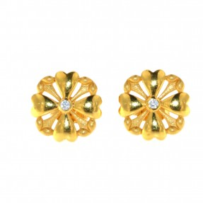 22ct Indian/Asian Gold Heart Stud Earrings