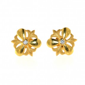 22ct Real Gold Asian/Indian/Pakistani Style Stud Flower Earrings