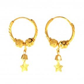 22ct Indian/Asian Gold Star Hoop Earrings