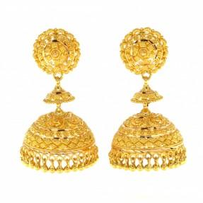 22ct Real Gold Asian/Indian/Pakistani Style Filigree Earrings Jhumkay
