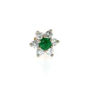 18ct Gold Diamond & Emerald Flower Nose Pin