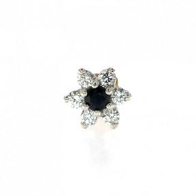 18ct Gold Diamond & Sapphire Flower Nose Pin