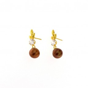 22ct Real Gold Asian/Indian/Pakistani Style Chocolate Colour Pearl Earrings