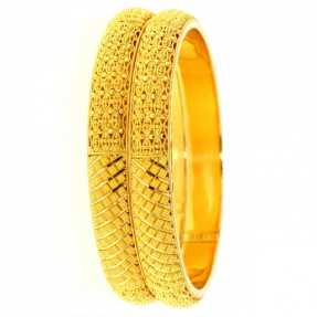 22ct Indian-Asian Filigree Gold Bangles-Karas (Pair)
