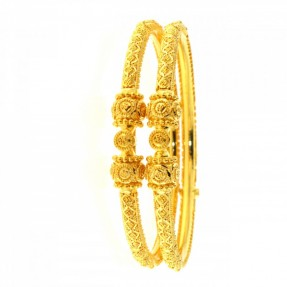 22ct Real Gold Asian/Indian/Pakistani Style Filigree Pipe Karas-Bangles Openable (Pair)