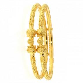 22ct Indian-Asian Gold Filigree Pipe Karas-Bangles Openable (Pair)