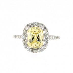 14ct White Gold 0.53ct Diamond & Yellow Citrine Ring