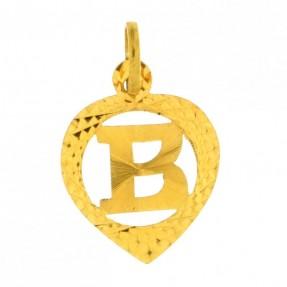 22ct Indian Gold 'B' Heart Pendant