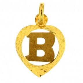 22ct Real Gold Asian/Indian/Pakistani Style 'B' Heart Pendant