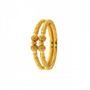 22ct Indian-Asian Gold Filigree Openable Pipe Bangles-Karas